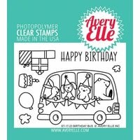 Avery Elle - Clear Photopolymer Stamps - Birthday Bus