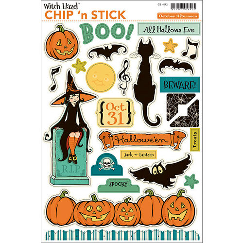 October Afternoon - Witch Hazel Collection - Halloween - Chip 'n Stick - Self Adhesive Chipboard - Variety