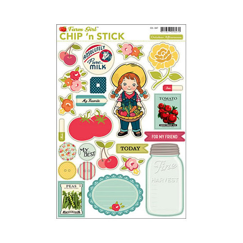 October Afternoon - Farm Girl Collection - Chip 'n Stick - Self Adhesive Chipboard - Variety