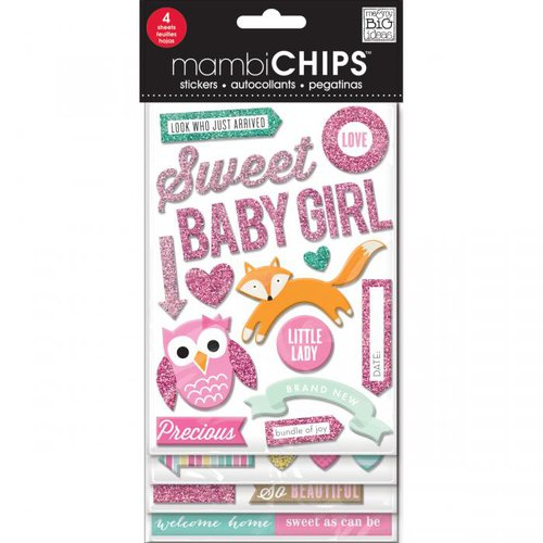 Me and My Big Ideas - MAMBI Chips - Chipboard Stickers - Sweet Baby Girl