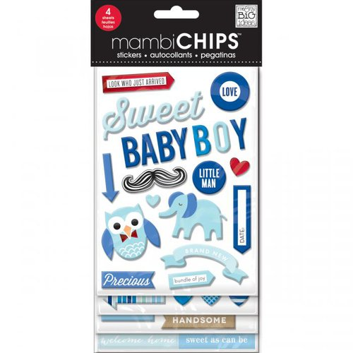 Me and My Big Ideas - MAMBI Chips - Chipboard Stickers - Sweet Baby Boy
