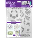 Docrafts - Creativity Essentials - Clear Acrylic Stamps - A5 - Floral Icons