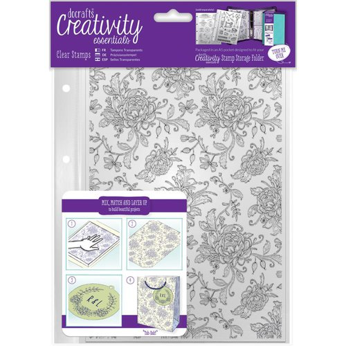 Docrafts - Creativity Essentials - Clear Acrylic Stamps - A5 - Floral