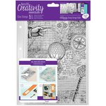 Docrafts - Creativity Essentials - Clear Acrylic Stamps - A5 - Background - Steampunk