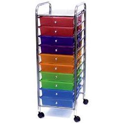 Storage Studios - Home Center Rolling Cart -10 Drawers - Multi