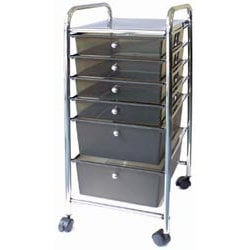Storage Studios - Home Center Rolling Cart - 6 Drawers - Smoke