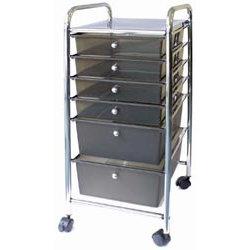 Storage Studios - Home Center Rolling Cart - 6 Drawers - Smoke
