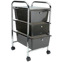 Storage Studios - Home Center Rolling Cart - 3 Drawers - Smoke