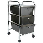 Storage Studios - Home Center Rolling Cart - 3 Drawers - Smoke