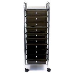 Storage Studios - Home Center Rolling Cart -10 Drawers - Smoke