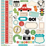 October Afternoon - Road Map Collection - 12 x 12 Die Cut Paper - Shapes, BRAND NEW