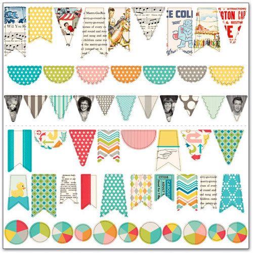 October Afternoon - Midway Collection - Sew Fun Banners - Sewable Cardstock Pieces