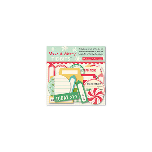 October Afternoon - Make it Merry Collection - Christmas - Tidbits - Die Cut Cardstock Pieces