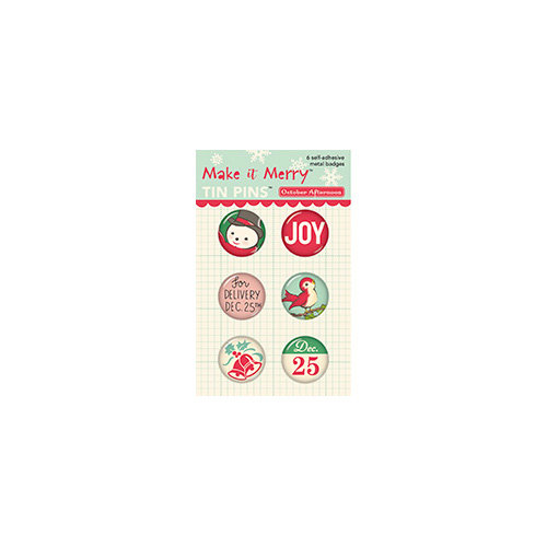 October Afternoon - Make it Merry Collection - Christmas - Tin Pins - Self Adhesive Metal Badges