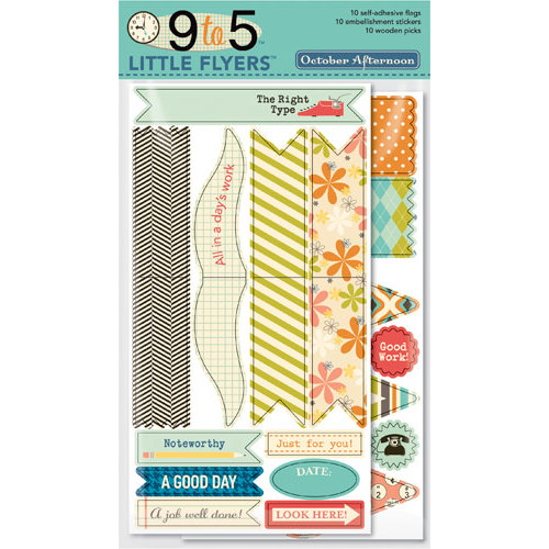 October Afternoon - 9 to 5 Collection - Little Flyers - Self Adhesive Flags
