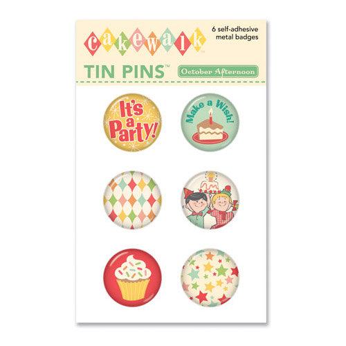 October Afternoon - Cakewalk Collection - Tin Pins - Self Adhesive Metal Badges