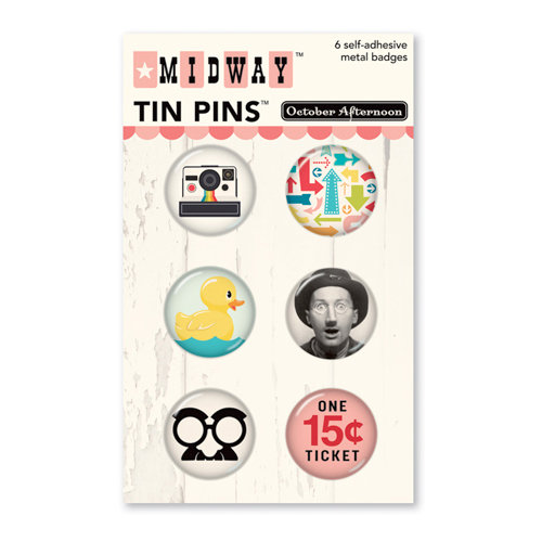 October Afternoon - Midway Collection - Tin Pins - Self Adhesive Metal Badges