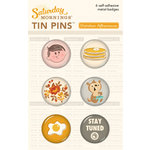 October Afternoon - Saturday Mornings Collection - Tin Pins - Self Adhesive Metal Badges