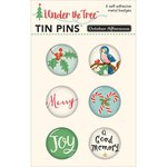 October Afternoon - Under the Tree Collection - Christmas - Tin Pins - Self Adhesive Metal Badges