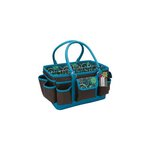 Mackinac Moon - Open Top Craft Tote - Chocolate and Teal Print