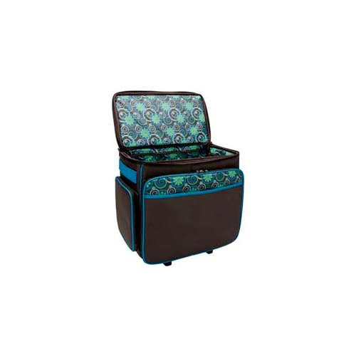 Mackinac Moon - Basic Rolling Tote - Chocolate and Teal Print