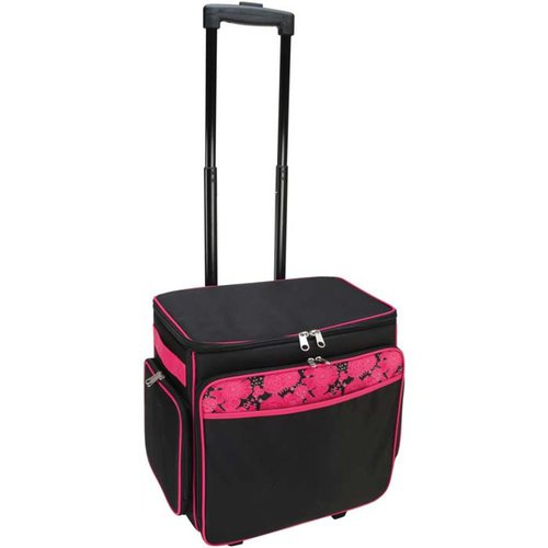 Mackinac Moon - Basic Rolling Tote - Black With Pink Floral