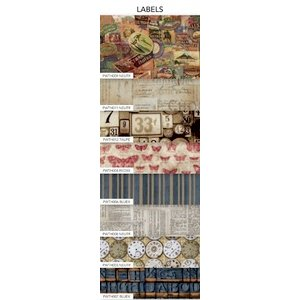 Coats - Tim Holtz - Eclectic Elements - 12 x 12 Fabric Craft Pack - 8 Pieces - Labels