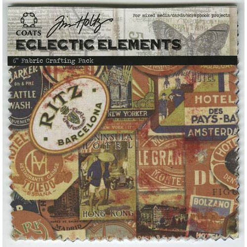 Coats - Tim Holtz - Eclectic Elements - 6 x 6 Fabric Craft Pack - 8 Pieces - Labels