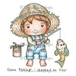 La-La Land - Cling Mounted Rubber Stamp Set - Gone Fishing Luka