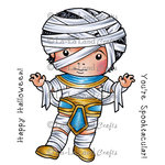 La-La Land - Halloween - Cling Mounted Rubber Stamp Set - Egyptian Mummy Luka