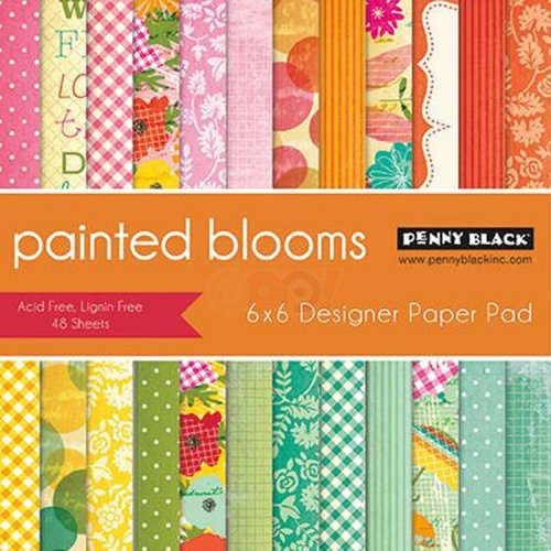 Penny Black - 6 x 6 Paper Pad - Painted Blooms