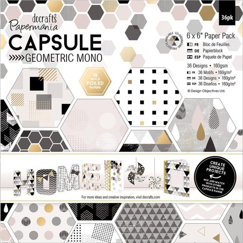 Docrafts - Papermania - Capsule Collection - Geometric Mono - 6 x 6 Paper Pack
