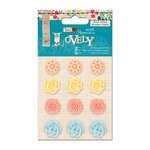DoCrafts - Papermania - Sew Lovely Collection - Resin Flower Stickers