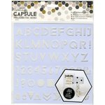 Docrafts - Papermania - Capsule Collection - Geometric Mono - Adhesive Stencil - 8 x 8 - Alphabet