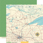 October Afternoon - Road Map Collection - 12 x 12 Double Sided Paper - Shady Lane RV Park, BRAND NEW
