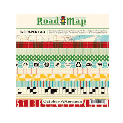October Afternoon - Road Map Collection - 8 x 8 Paper Pad, BRAND NEW
