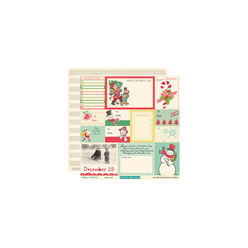 October Afternoon - Make it Merry Collection - Christmas - 12 x 12 Double Sided Paper - Make a List