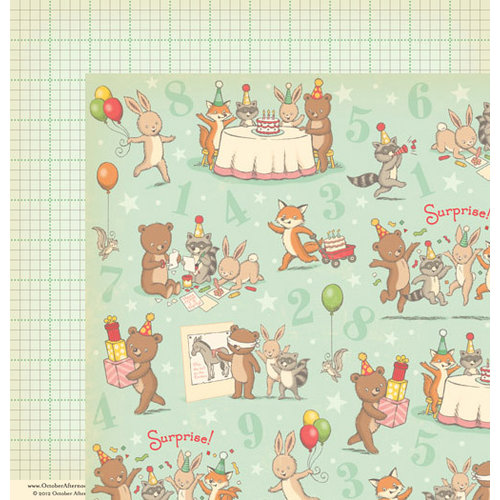October Afternoon - Cakewalk Collection - 12 x 12 Double Sided Paper - Party Hat