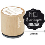 Woodies - Wood Mounted Rubber Stamp - Merci Thank You Gracias