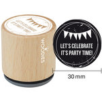 Woodies - Wood Mounted Rubber Stamp - Let's Celebrate It's Party Time