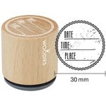 Woodies - Wood Mounted Rubber Stamp - Date Time Place