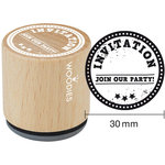 Woodies - Wood Mounted Rubber Stamp - Invitation Join Our Party