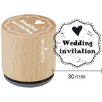 Woodies - Wood Mounted Rubber Stamp - Wedding Invitation
