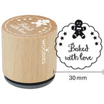 Woodies - Wood Mounted Rubber Stamp - Baked With Love