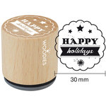 Woodies - Wood Mounted Rubber Stamp - Happy Holidays