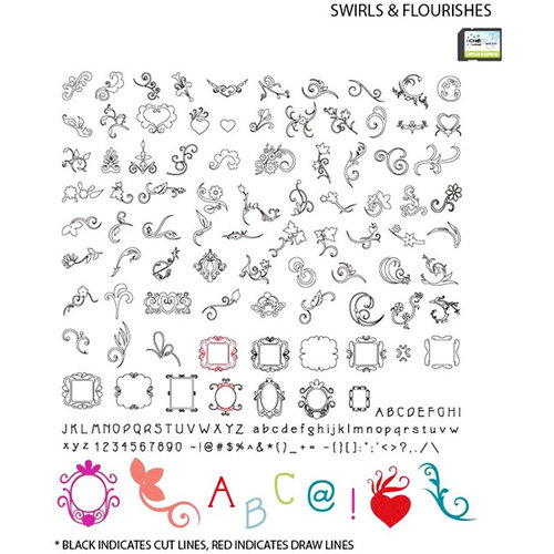 Craftwell - eCraft - 12 Inch Electronic Cutting System - Image Card - Swirls and Flourishes
