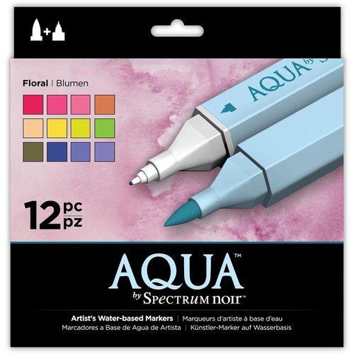 Crafter's Companion - Spectrum Noir - Aqua Markers - Floral - 12 Pack