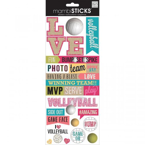 Me and My Big Ideas - MAMBI Sticks - Cardstock Stickers with Glitter Accents - Love Volleyball