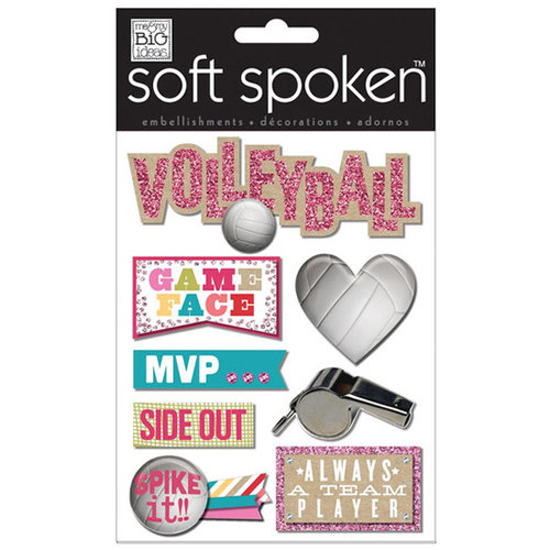 Me and My Big Ideas - Soft Spoken - 3 Dimensional Stickers with Glitter and Jewel Accents - Volleyball Game Face
