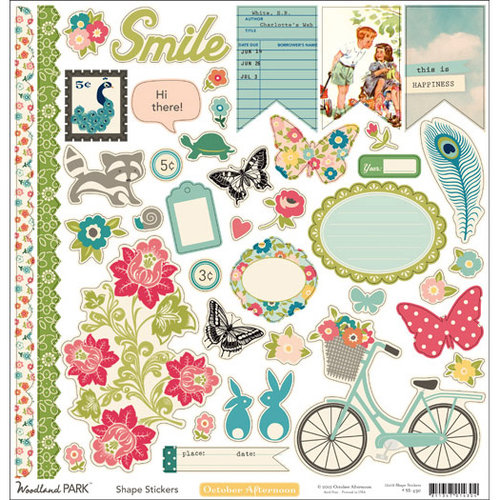 October Afternoon - Woodland Park - 12 x 12 Cardstock Stickers - Shapes